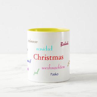 Christmas Around The World In White And Yellow Mug