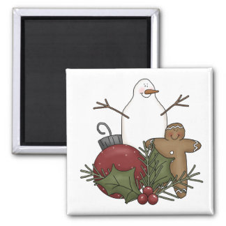 Christmas Arrangements · Gingerbread & Bauble 2 Inch Square Magnet