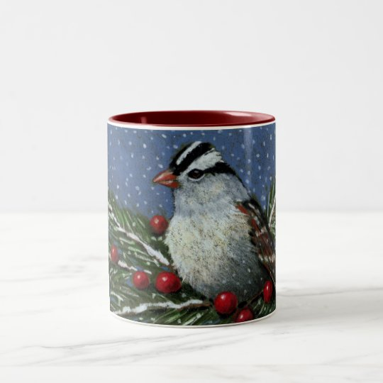 CHRISTMAS ART: BIRD, BERRIES: MUG