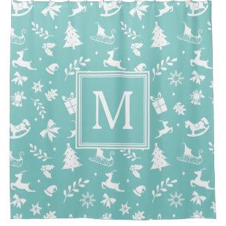 Christmas Art Decor Snowflake Tree Deer Monogram Shower Curtain