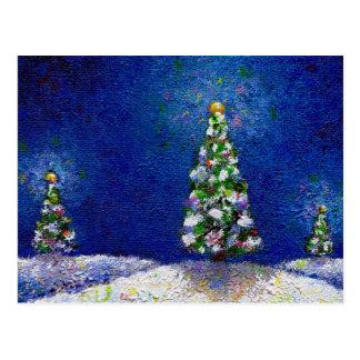 Christmas art fun colorful trees original painting postcard