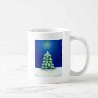 Christmas art holiday card tree snow December 25th Coffee Mug