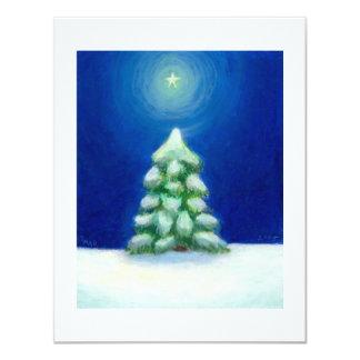 "Christmas art holiday card tree snow December 25th 4.25"" X 5.5"" Invitation Card"