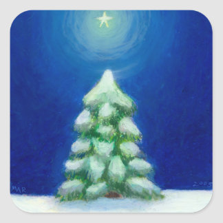 Christmas art holiday card tree snow December 25th Sticker
