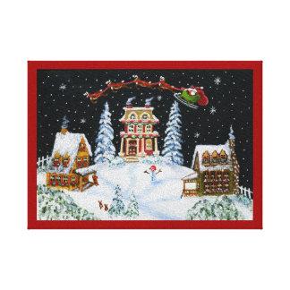 Christmas Art,Santa,reindeer,snowman,bunnys Canvas Print