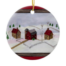 Christmas at Farm - Round Ornament