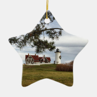Christmas at Nobska Lighthouse Cape Cod Gifts Ceramic Ornament