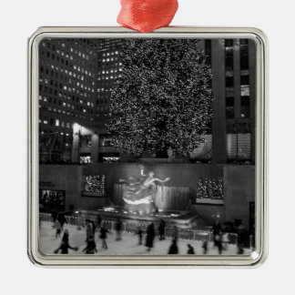 Christmas at Rockefeller Center & the Ice Skaters Square Metal Christmas Ornament