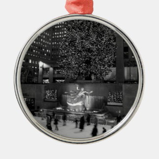 Christmas at Rockefeller Center & the Ice Skaters Round Metal Christmas Ornament