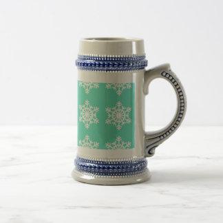 Christmas at Tiffanys Aqua Blue Snowflakes Beer Stein