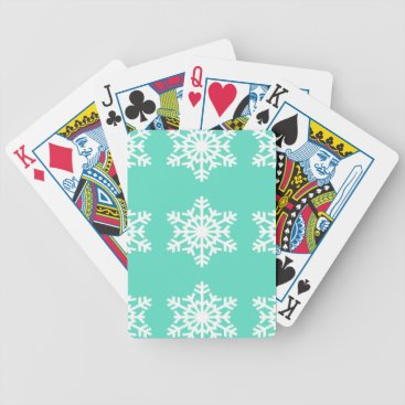 Aztec Themed Christmas at Tiffanys Aqua Blue Snowflakes Bicycle Playing Cards
