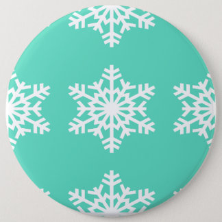 Christmas at Tiffanys Aqua Blue Snowflakes Button