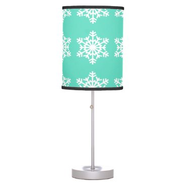 Aqua Christmas at Tiffanys Aqua Blue Snowflakes Desk Lamp