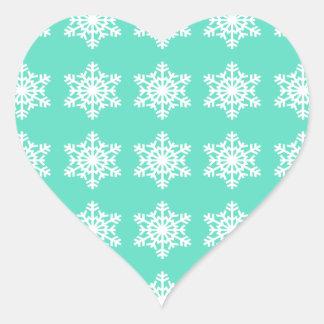 Christmas at Tiffanys Aqua Blue Snowflakes Heart Sticker