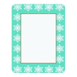 Christmas at Tiffanys Aqua Blue Snowflakes 4.25x5.5 Paper Invitation Card
