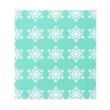 Beach Themed Christmas at Tiffanys Aqua Blue Snowflakes Notepad