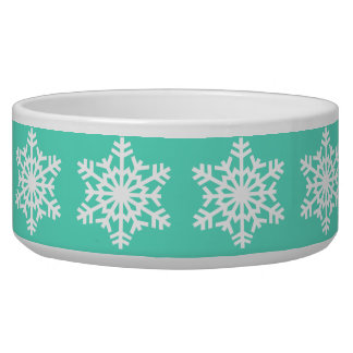 Christmas at Tiffanys Aqua Blue Snowflakes Dog Bowl