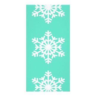 Christmas at Tiffanys Aqua Blue Snowflakes Custom Photo Card