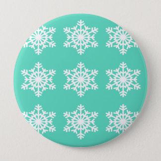 Christmas at Tiffanys Aqua Blue Snowflakes Pinback Button