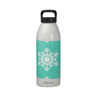Christmas at Tiffanys Aqua Blue Snowflakes Water Bottle
