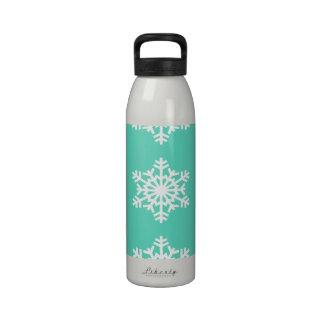 Christmas at Tiffanys Aqua Blue Snowflakes Water Bottles