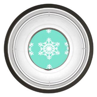 Christmas at Tiffanys Aqua Blue Snowflakes Pet Bowl