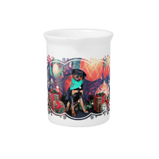 Christmas - Athena - Rottweiler Beverage Pitcher