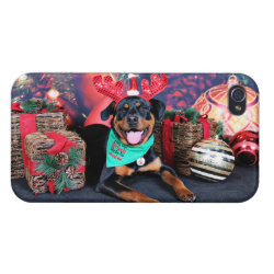 Christmas - Athena - Rottweiler iPhone 4 Cases