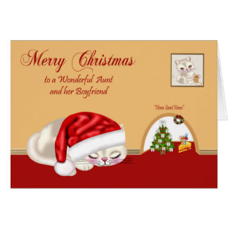 Christmas Aunt and boyfriend Greeting Card