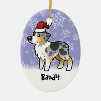 Christmas Australian Shepherd Ceramic Ornament