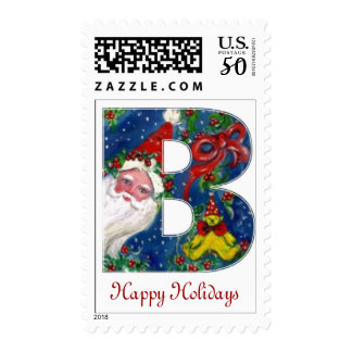 CHRISTMAS B LETTER / SANTA CLAUS WITH RED MONOGRAM POSTAGE