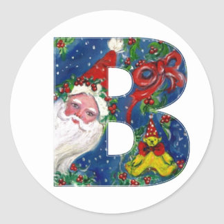 CHRISTMAS B LETTER / SANTA CLAUS WITH RED RIBBON CLASSIC ROUND STICKER