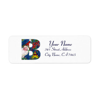 CHRISTMAS B LETTER / SANTA CLAUS WITH RED RIBBON RETURN ADDRESS LABEL