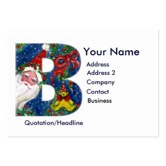 CHRISTMAS B LETTER / SANTA CLAUS WITH RED RIBBON LARGE BUSINESS CARDS (Pack OF 100)