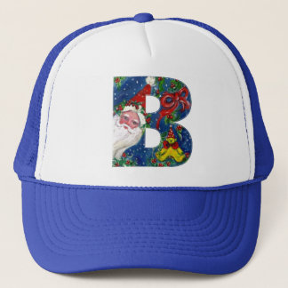 CHRISTMAS B LETTER / SANTA CLAUS WITH RED RIBBON TRUCKER HAT