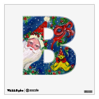 CHRISTMAS B LETTER / SANTA CLAUS WITH RED RIBBON WALL STICKER