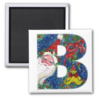 CHRISTMAS B LETTER / SANTA  RED RIBBON MONOGRAM 2 INCH SQUARE MAGNET
