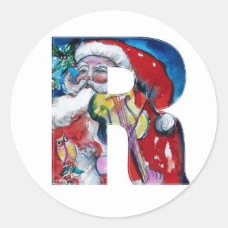 CHRISTMAS B LETTER  / SANTA WITH VIOLIN MONOGRAM CLASSIC ROUND STICKER