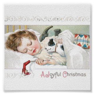 Christmas Baby and Dog Poster