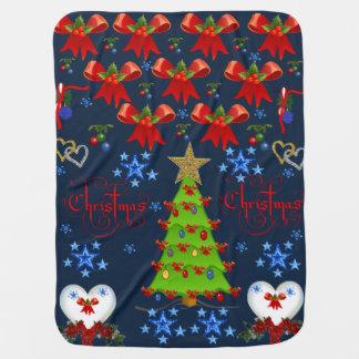 Christmas baby blanket drk blue back