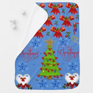 Christmas baby blanket light blue back