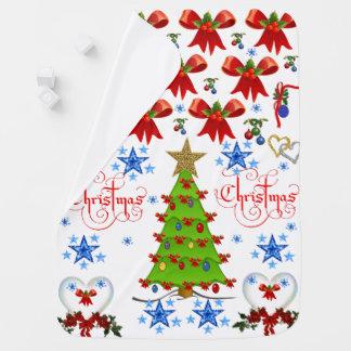 Christmas baby blanket white back