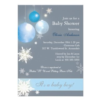 Christmas Baby Boy Baby Shower Invitations