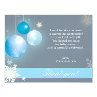 Christmas Baby Boy Baby Shower Thank You Card
