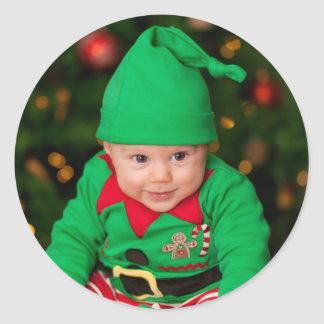 Christmas baby changed as eleven classic round sticker