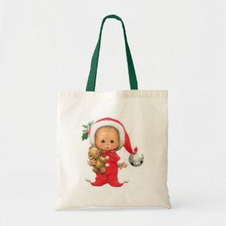 Christmas Baby Elf And Teddy Budget Tote Bag