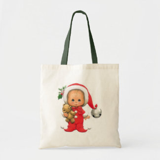 Christmas Baby Elf And Teddy Canvas Bag
