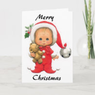 Christmas Baby Elf And Teddy Cards