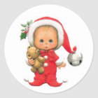 Christmas Baby Elf And Teddy Classic Round Sticker