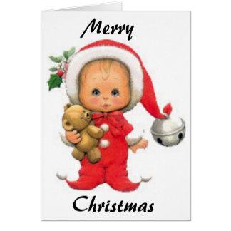 Christmas Baby Elf And Teddy Greeting Card